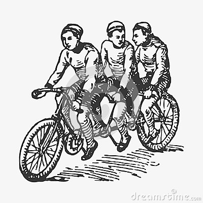 Free Vector Engraving Tandem Bike Stock Photos - 74701783