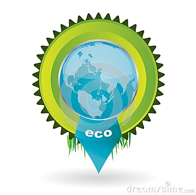 Vector environmental emblem with the globe in it