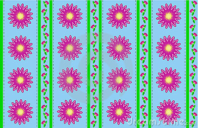 Vector Eps 10 Blue Wallpaper with Pink Flowers