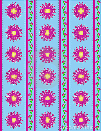 Vector Eps 10 Blue Wallpaper with Pink Flowers and