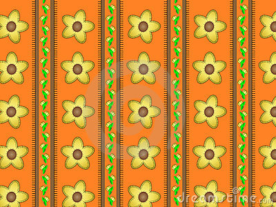 Vector Eps 10 Orange Wallpaper with Yellow Flowers