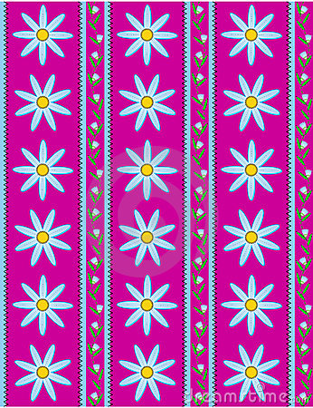 Vector Eps 10 Pink Wallpaper with Blue Flowers