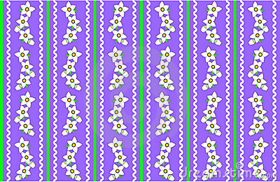Vector Eps 10 Purple Wallpaper with White Flowers