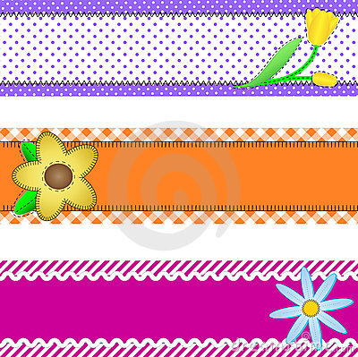 Vector Eps 10, Three Banners with Flowers and Copy