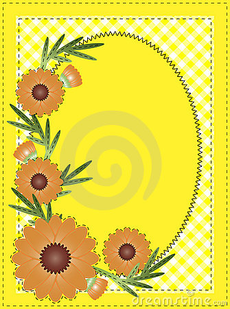 Vector Eps 10 Yellow Oval Copy Space with Gingham