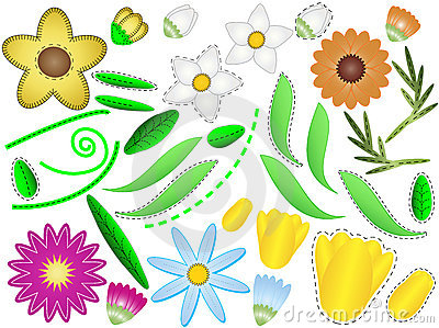 Vector Eps 8 Flowers and Leaves to Design Your Own