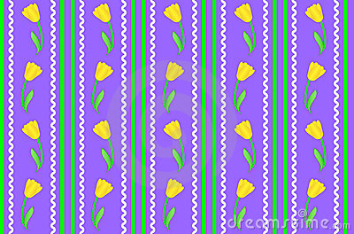Vector Eps 8 Purple Wallpaper with Yellow Flowers