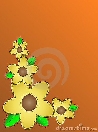 Vector Eps10 Orange Copy Space with Yellow Flowers
