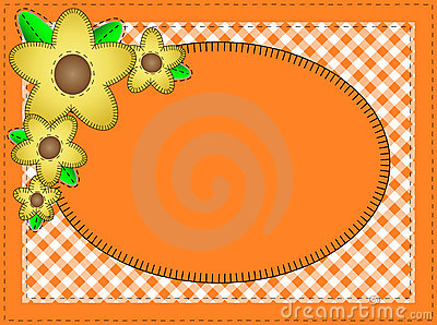 Vector Eps10.  Oval Orange Copy Space with Yellow