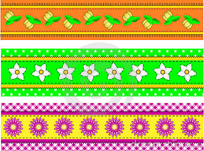 Vector EPS10 Three Flower Borders with Dots, Gingh