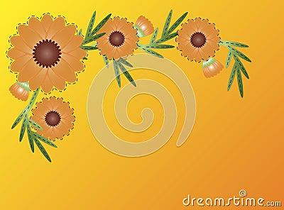 Vector Eps8 Zinnia Flower Border on Yellow Orange