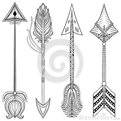 Free Vector Ethnic Arrows In Zentangle Design,concept. Hand Drawn Ame Stock Photo - 81912120