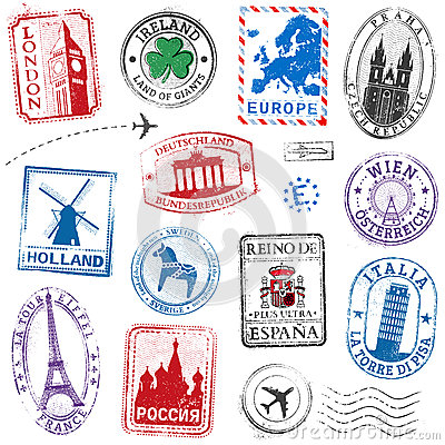 Free Vector Europe Stamps Royalty Free Stock Photography - 56989157