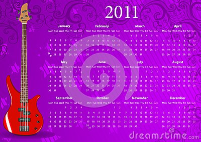 Vector European calendar 2011 with bass guitar