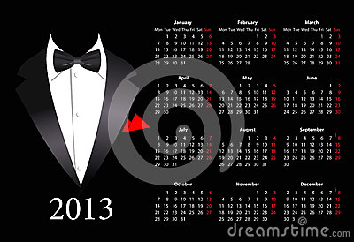 Vector European calendar 2013 with elegant suit