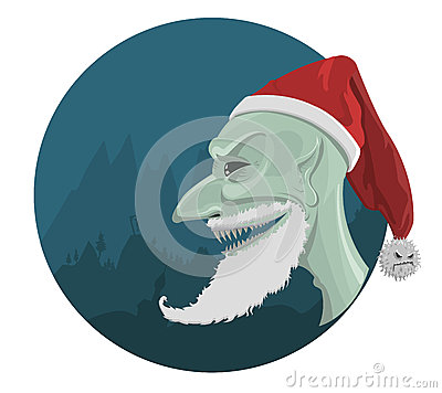 Vector evil Santa Claus in red hat