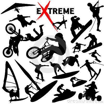 Free Vector EXtreme Sport Silhouettes Royalty Free Stock Photography - 5074027