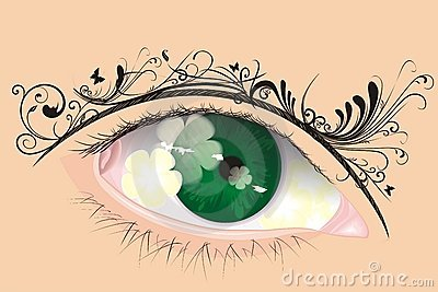 Vector eye with floral eyebrow