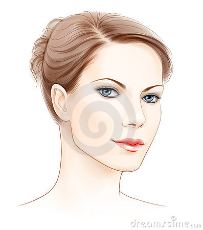 Vector face of beautiful woman
