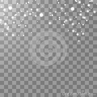 Free Vector Falling Snow Effect Isolated On Transparent Background With Blurred Bokeh. Stock Image - 133351191