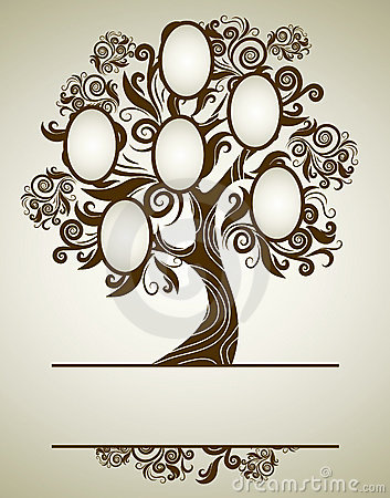 Free Vector Family Tree Design With Frames Royalty Free Stock Image - 16066316