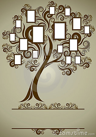 Free Vector Family Tree Design With Frames Royalty Free Stock Images - 16236369