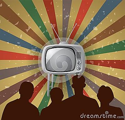 vector family watching retro tv set
