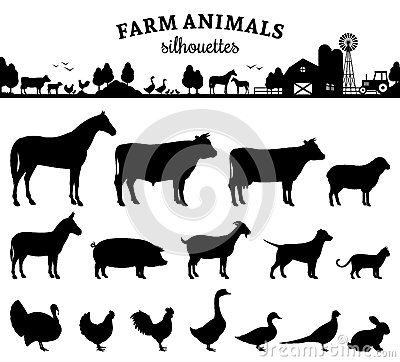 Free Vector Farm Animals Silhouettes On White Stock Image - 58651681