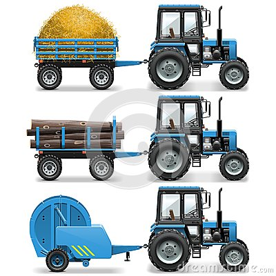 Free Vector Farm Tractor With Baler And Trolley Stock Photography - 53432642