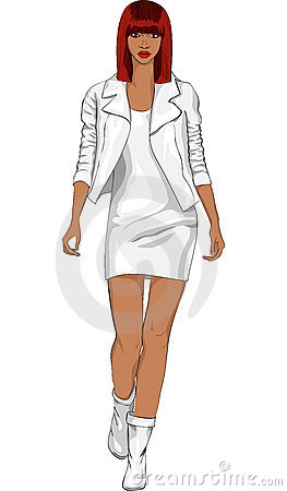 vector Fashion black girl in a white leather suit