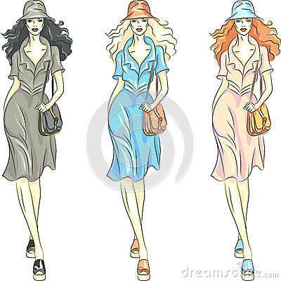Vector fashion girls top models in dresses and hat