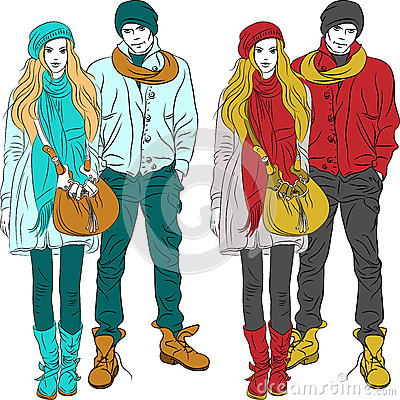 Vector fashion stylish guy and girl  in warm cloth