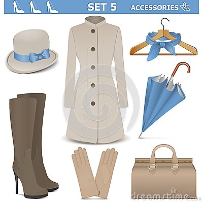 Free Vector Female Accessories Set 5 Royalty Free Stock Image - 38809476