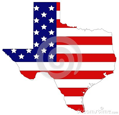Texas map with USA flag - the second largest state in the United States Vector Illustration