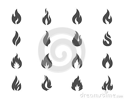 Vector fire icons set grey on white Vector Illustration