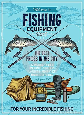 Free Vector Fisherman Sport Fishing Equipement Poster Royalty Free Stock Photo - 112458155