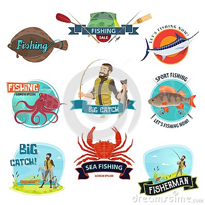 Free Vector Fisherman Sport Fishing Icons Royalty Free Stock Images - 115098079