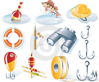 Vector fishing icon set