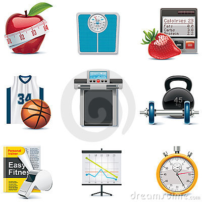 Free Vector Fitness Icon Set Royalty Free Stock Photos - 18330878