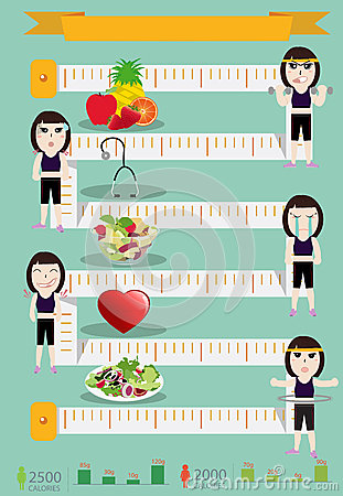 Vector fitness woman and diet info graphics design