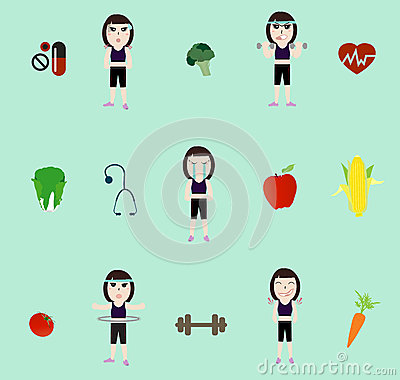 Vector fitness woman and diet