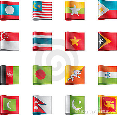 Vector Flags. Asia, Part 7 Stock Photos - Image: 22022393