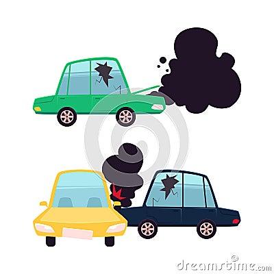 Free Vector Flat Cartoon Car Crash Accident Set Stock Photos - 100114663