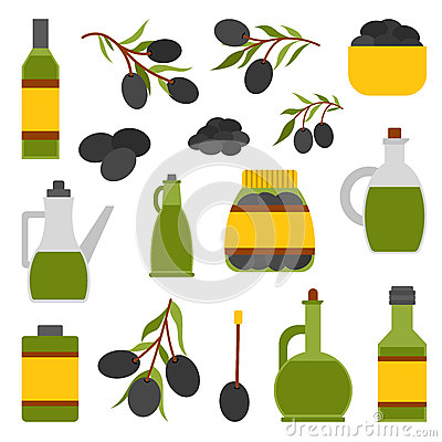 Free Vector Flat Cartoon Oil Bottle And Olives Royalty Free Stock Photo - 79025065