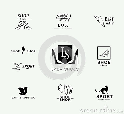 Free Vector Flat Collection Of Stylish Modern Shoe Logo For Women, Men And Kids. Royalty Free Stock Photography - 65343117