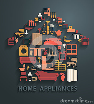 Free Vector Flat Design Concepts Home Appliances Icons Stock Photos - 49118603