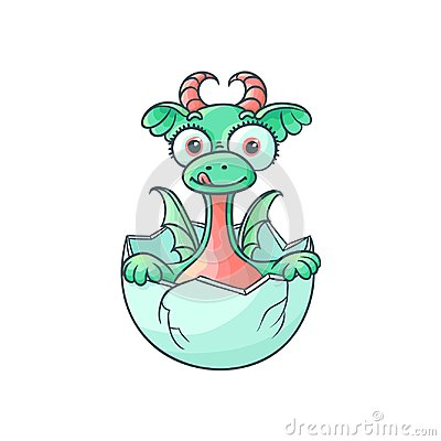 Free Vector Flat Dragon Baby Hatching From Egg Stock Photo - 101280460