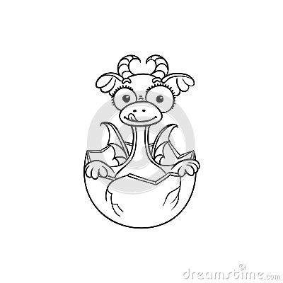 Free Vector Flat Dragon Baby Hatching From Egg Coloring Royalty Free Stock Image - 102020756