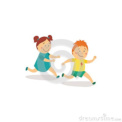 Free Vector Flat Girl And Boy Runnin, Catch-up Stock Photo - 101287470
