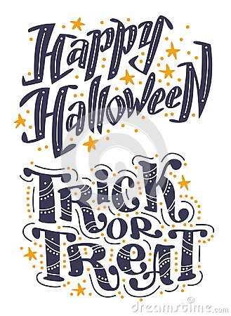 Vector flat halloween lettering quote design set with doodle elements isolated on white background. Vector Illustration